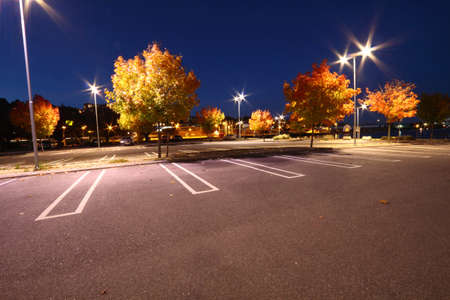 Parking lot an evening in fall photo