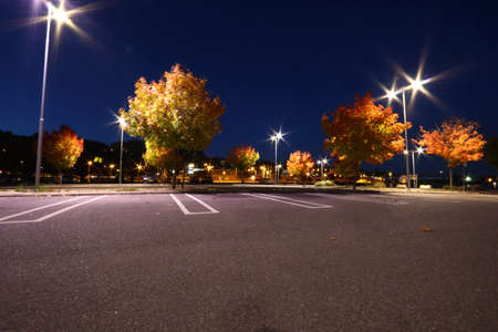 colourful lightings: Parking lot in autumn