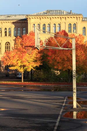 Abandoned Basketball and autumn  City of Sundsvall, Sweden photo
