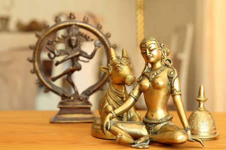 contemplates: Goddess Parvati contemplates and her husband is dancing