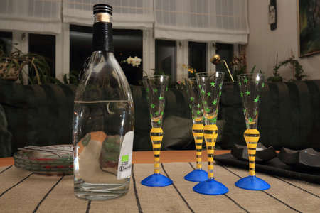gaily: Viking vodka ready to be served, prepared for four persons