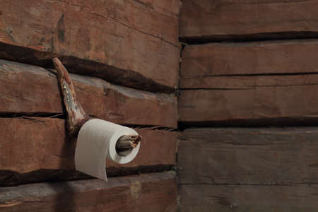 graining: toilet roll on a timbered wall waiting to be used
