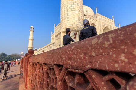 mumtaz: The Taj Mahal mausoleum lit by sunrise beams an early morning, built by Shah Jahan for his love one Mumtaz Mahal Editorial
