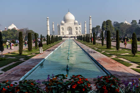 mumtaz: The Taj Mahal mausoleum lit by sunrise beams an early morning, built by Shah Jahan for his love one Mumtaz Mahal Editorial