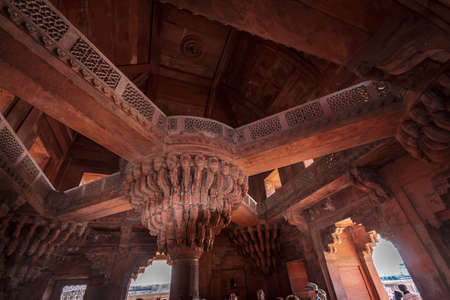 rostrum: The rostrum of mughal emperor Akbar situated above the visitors head so that they could not see him when  he talked to themFatehpur Sikri, Uttar Pradesh India   02 2013