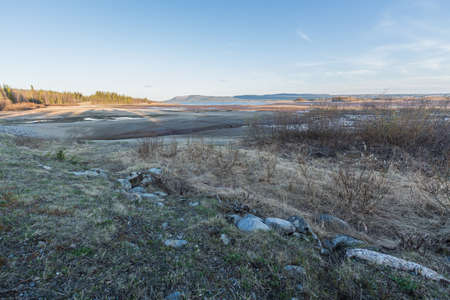 emptied: Reservoirs emptied on water for the sake of energi production, Lappland; Sweden Stock Photo