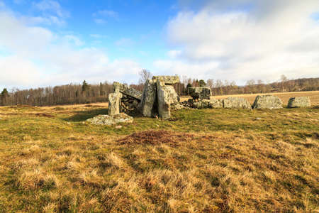 periods: Grave from the Megalith period on a field in Ekornavallen, Sweden with different types of ancient graves from different periods