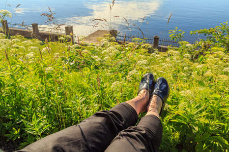 sweden resting: Relaxing in the city of Hjo in Sweden