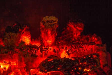trait: Live coal radiating heat Stock Photo