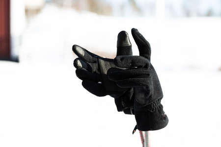 tog: Ski gloves ocn ski poles a sunny February winter day