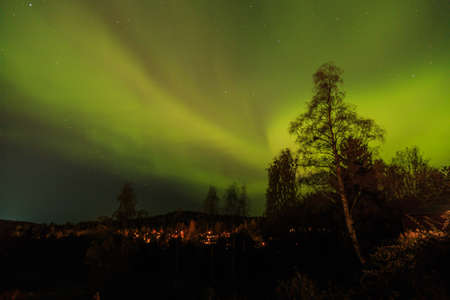 mirk: Northern Lights in the autumn Stock Photo