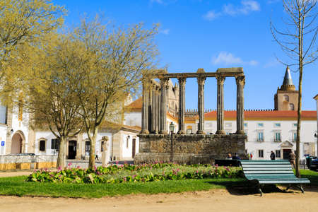 humilde: Evora, Portugal - April 10 2016: The roman temple ruin was raised to honor emperor Augustus and is wrongly called Diana temple
