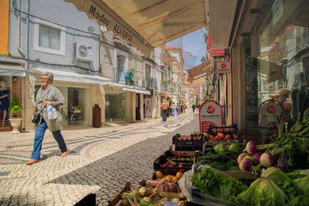 tog: Setubal, Portugal - April 8 2016: Greeenstuff exposed in the old city of Setubal