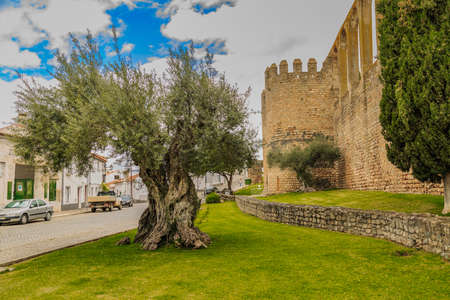 fastness: Moura, Portugal - April 11 2016: famous castle with remaining aqueduct
