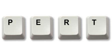 pert: PERT word written from computer keyboard keys Stock Photo
