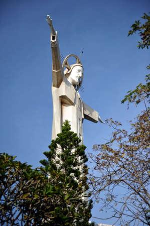 Vung Tau, Vietnam - November 12, 2014: Statue of Jesus on Mount Nho in Vung Tau city. Vietnam.