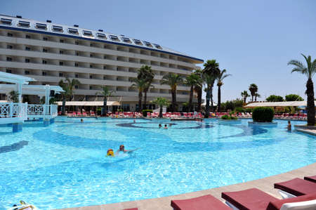 repose: Side, Turkey - April 16, 2014: Luxurious 5-star hotel Crystal Admiral Resort in Side. Is a popular tourist destination