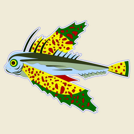 Bug-eyed monster fish with large yellow-green fins, vector