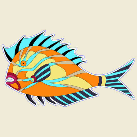 Thick fish monster with spiny fins in orange tones. vector Standard-Bild - 113557437