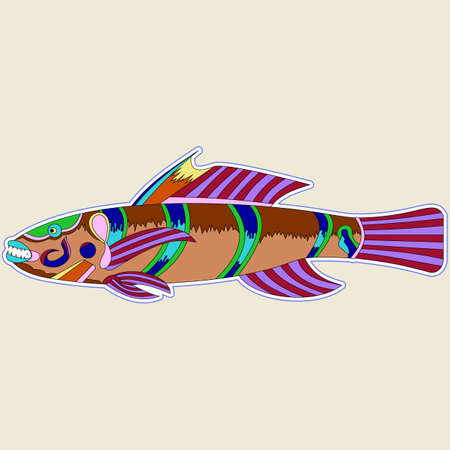 Multi-colored monster fish with one big spike on the back, vector