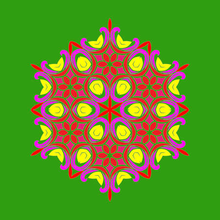 Flat design with abstract multicolored snowflakes isolated on green background. Vector Snowflakes mandala. Vector illustration.