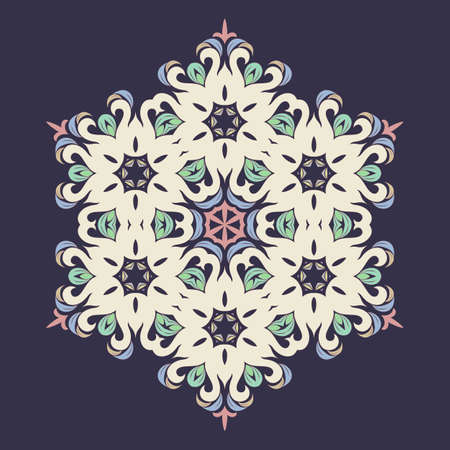 Snowflake - Mandala in pressed rose color on Eclipse background. Ornament for Christmas end New Year card winter design.