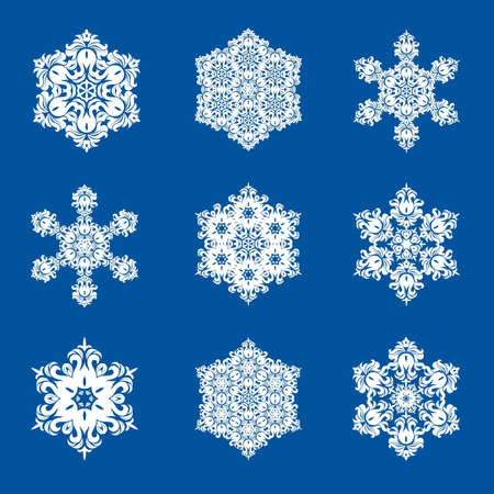 Snowflake - Mandala in white color on blue background. Ornament for Christmas end New Year card winter design. Vectores