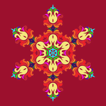 Snowflake - Mandala on Jester Red background. Ornament for Christmas end New Year card winter design. Vectores