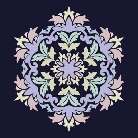 Isolated vector illustration. Abstract floral decor. Ornate six point star or mandala with vintage motifs. Used such fashionable colors Jester Red, Pressed Rose, Sweet Corn