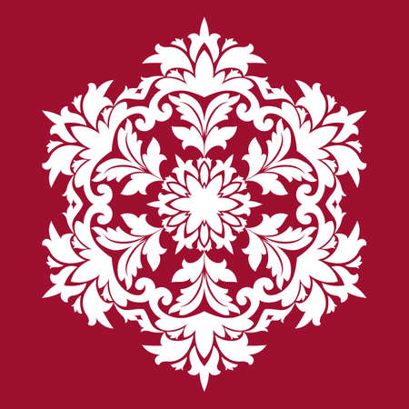 Snowflakes background. Used such fashionable colors: Jester Red, Pressed Rose, Sweet Corn. Vector illustration Flat design with abstract snowflakes isolated on red background.