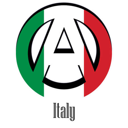 Flag of Italy of the world in the form of a sign of anarchy, which stands for freedom and equality of people.
