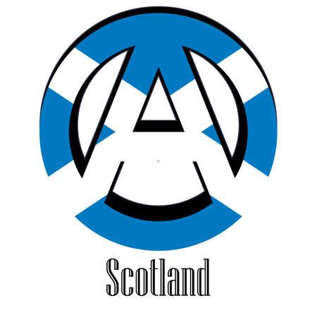 Flagge von Schottland der Welt in Form eines Zeichens der Anarchie, das für Freiheit und Gleichheit der Menschen steht.