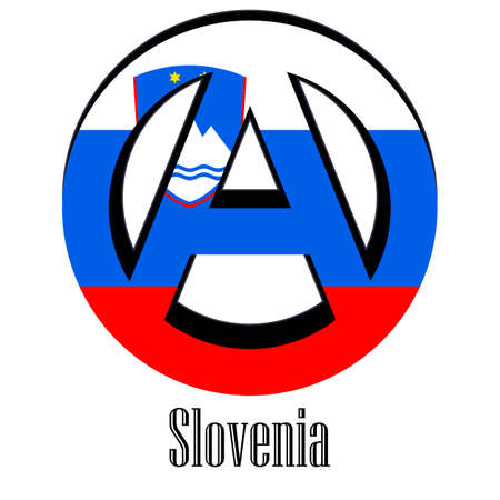 Flag of Slovenia of the world in the form of a sign of anarchy, which stands for freedom and equality of people.