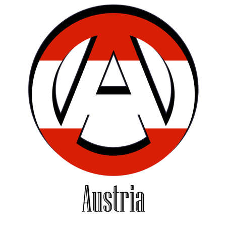 Flag of Austria of the world in the form of a sign of anarchy, which stands for freedom and equality of people. Vector Illustration
