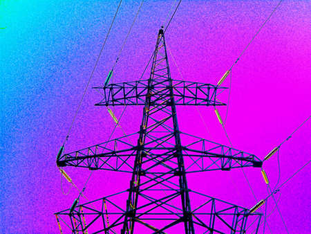 Silhouette High voltage electric tower on sunset time and sky on sunset time neon background. Фото со стока