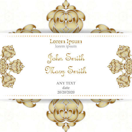 Templates for Greeting and Business cards. Vector Illustration gold on dairy. Oriental Pattern with. Mandala. Wedding invitation. Illustration