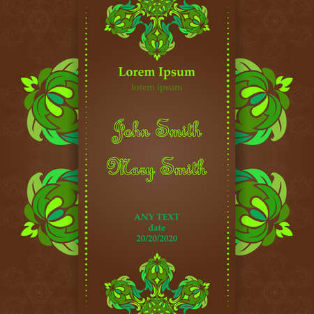 Templates for Greeting and Business cards. Vector Illustration green tones on a brown background. Oriental Pattern with. Mandala. Wedding invitation. Illustration
