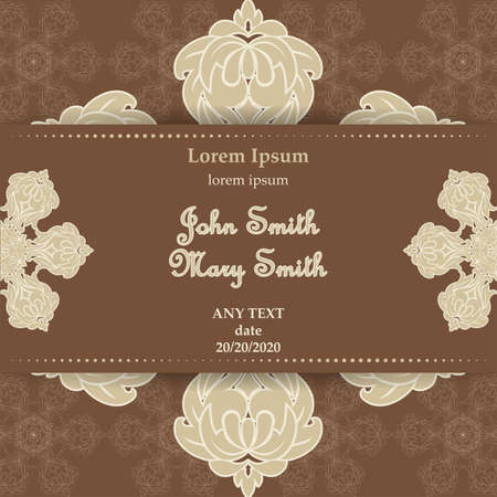 Templates for Greeting and Business cards. Vector Illustration brown tones. Oriental Pattern with. Mandala. Wedding invitation.