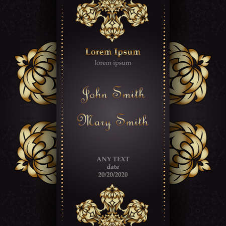 Templates for Greeting and Business cards. Vector Illustration gold on black. Oriental Pattern with. Mandala. Wedding invitation. Illustration