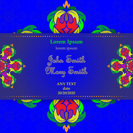 Templates for Greeting and Business cards. Vector Illustration multi-colored. Oriental Pattern with. Mandala. Wedding invitation. Illustration