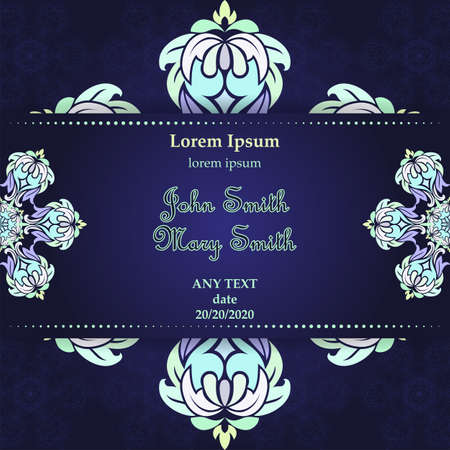 Templates for Greeting and Business cards. Vector Illustration blue tones. Oriental Pattern with. Mandala. Wedding invitation.