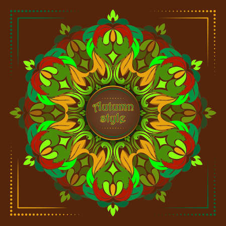 Background for cards with a mandala in the style of Tibet, can be used as greeting card for Buddha birthday or as card for yoga studio, retro style, vector illustration