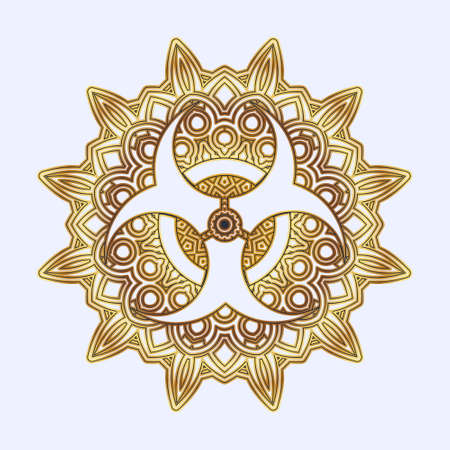 Signs inscribed in geometric mandala or arabesque.