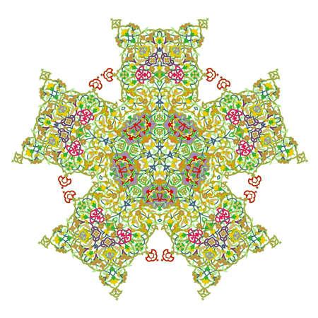 Pentagonal ornamental mandala, Five-pointed mandala Isolated design element, Vector illustration
