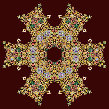 Hex repeating pattern with intricate pattern. Flower with six patterned petals. Mandala. Çizim