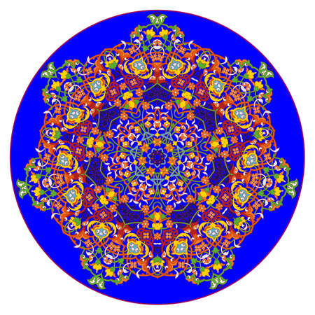 Seven-pointed star mandala or snowflake pattern in watercolor flower style
