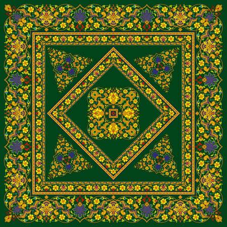 Abstract Flower Mandala. Decorative element for design. Vector illustration. Multicolor ornament in arabesque or mandala style Stok Fotoğraf