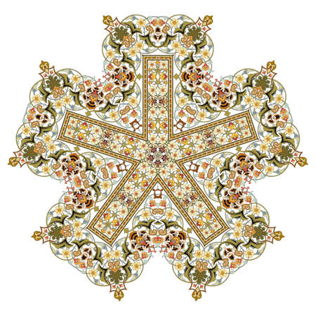Abstract Flower Mandala. Decorative element for design. Vector illustration. Multicolor ornament in arabesque or mandala style Çizim