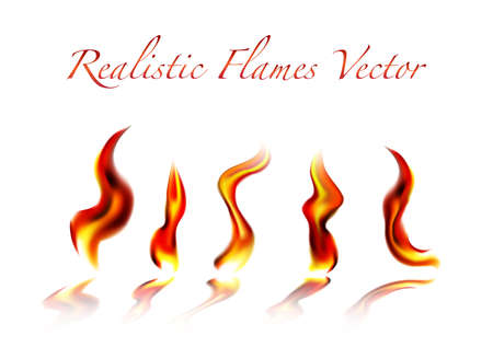 Realistic flames on a white background Stock Vector - 18257630