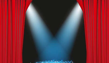 operetta: Red Curtain with blue spotlights Illustration